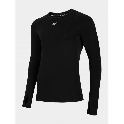 4F Tričko pánske bežecké s dlhým rukávom TSMLF012 Čierna